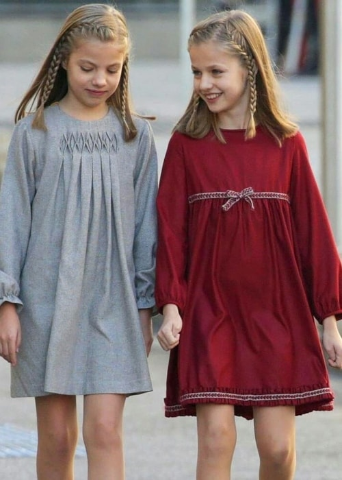 Leonor, Princess of Asturias (Right) as seen with her younger sister, Infanta Sofía of Spain