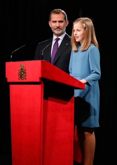 Leonor, Princess of Asturias as seen while giving a public speech with her father, King Felipe VI, standing beside her