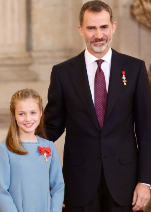 Leonor, Princess of Asturias as seen with her father, King Felipe VI, who has imposed the Collar of the Insigne Order of the Golden Fleece in January 2018
