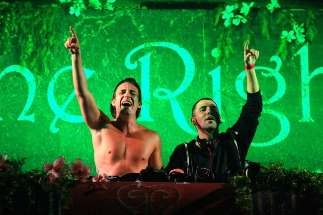 Like Mike (Left) and Dimitri Vegas as seen while performing in TomorrowWorld 2013