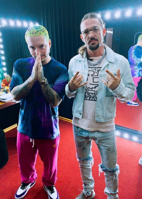 Like Mike (Right) as seen while posing with J Balvin in Cancún, Quintana Roo, Mexico in April 2019
