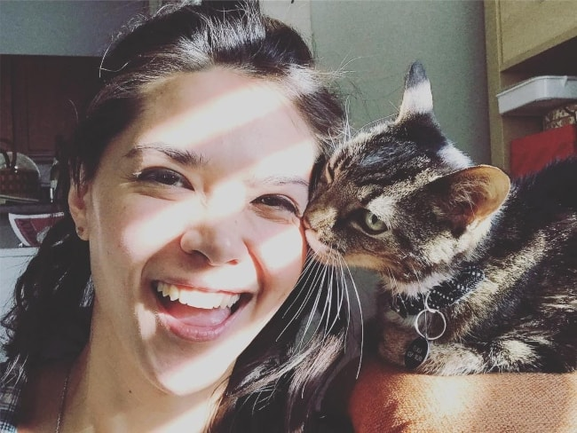 Lilan Bowden as seen while taking a selfie with her cat in November 2018