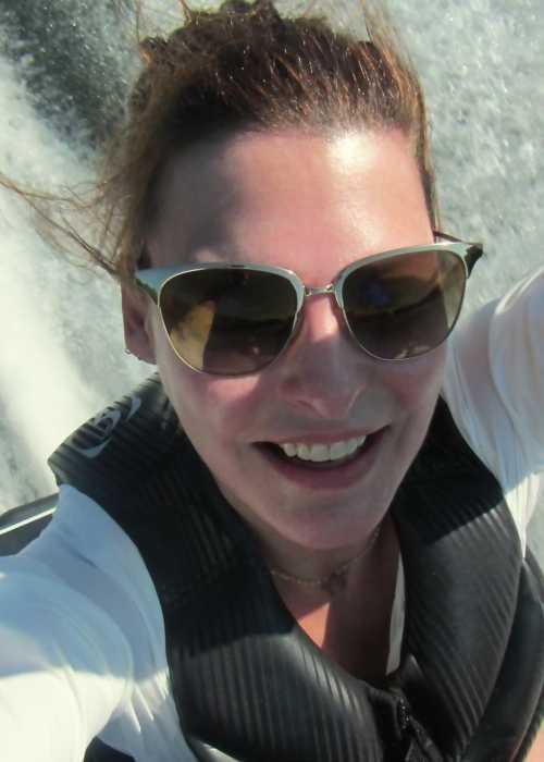 Linda Evangelista taking a selfie while jet skiing in Lake Rosseau, Canada in July 2015