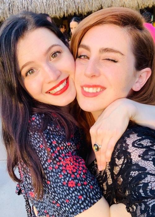 Meganne Young as seen while hugging Danii Gerdes in a selfie in Careyes in November 2018