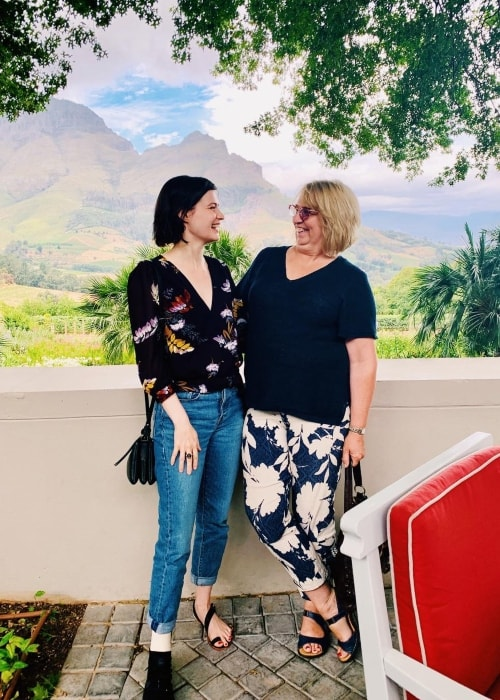 Meganne Young as seen while posing with her mother in Delaire Graff Estate which is located in Stellenbosch, South Africa in January 2019