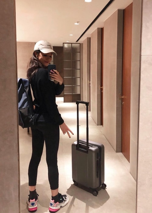 Natasha Liu Bordizzo as seen while taking a mirror selfie in Hong Kong, China in September 2018