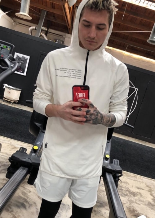 Nathan Schwandt as seen while taking a gym mirror selfie in Vitru in February 2019