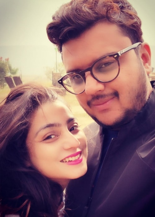Neha Marda as seen in a selfie with her husband Ayushman Agrawal in November 2018