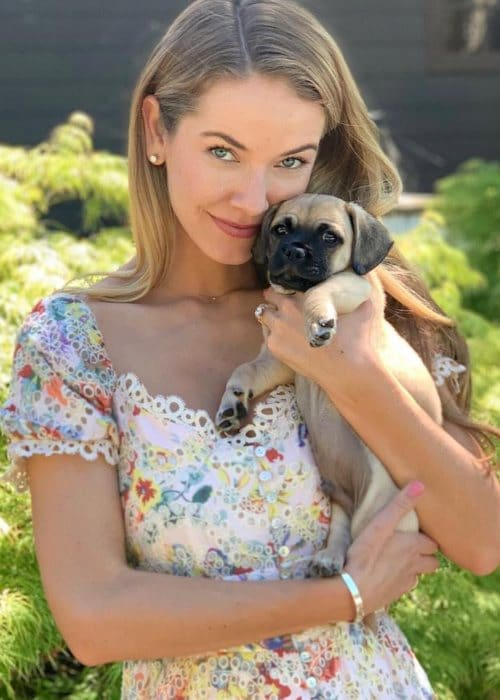 Olivia Jordan with her dog as seen in April 2019