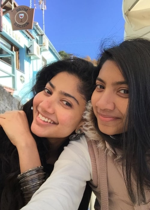Sai Pallavi as seen in a picture with her younger sister Pooja Kannan in Benalmádena, Spain in December 2017