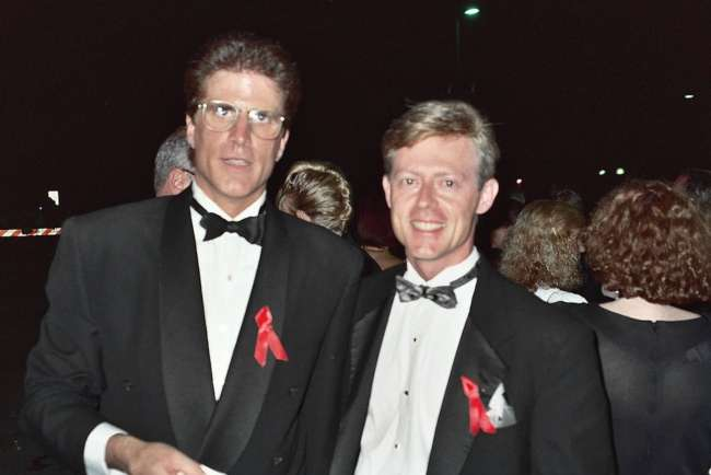 Ted Danson photographed with Alan Light at the 43rd Emmy Awards in August 1991