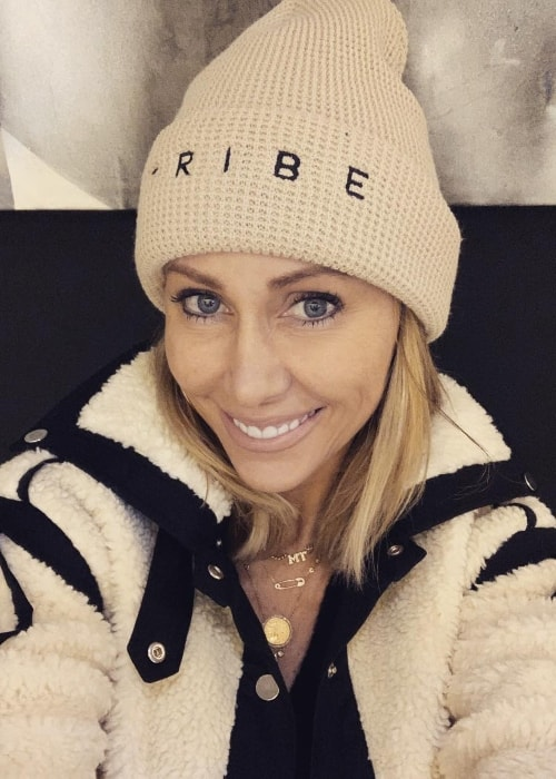 Tish Cyrus as seen while taking a selfie wearing Brandi Cyrus' beanie in Los Angeles, California in January 2019