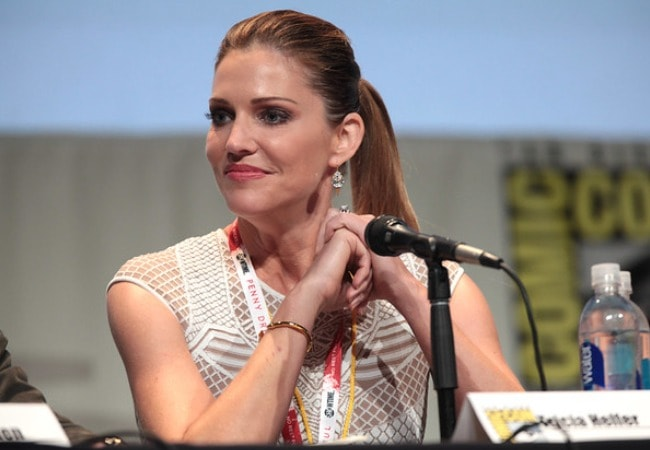 Tricia Helfer speaking at the 2015 San Diego Comic Con International