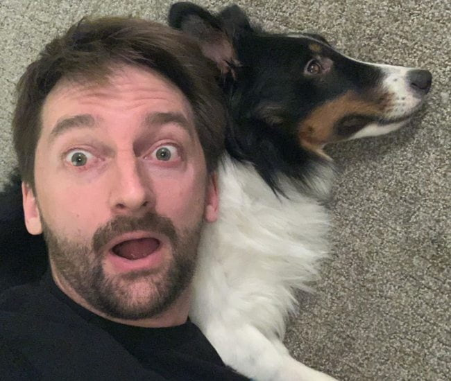 Aaron Kyro in a selfie with his dog as seen in June 2019