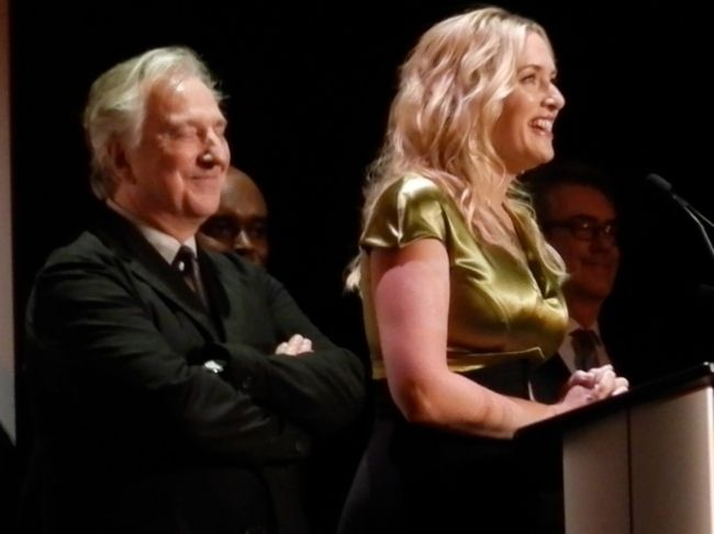 Actors Alan Rickman and Kate Winslet appearing at the 2014 Toronto International Film Festival