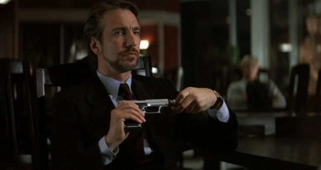 Alan Rickman portraying the character of Hans Gruber in the 1988 film Die Hard