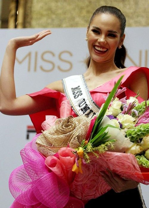 Beauty pageant winner Catriona Gray poses during the Frontrow Cares Christmas Charity for Kids Press conference held at the Shangri-la BGC in Taguig City in December 2018