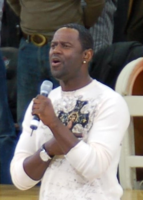 Brian McKnight as seen while singing the National Anthem at the start of a Cleveland Cavaliers home game at the Quicken Loans Arena as they host the Washington Wizards in November 2006