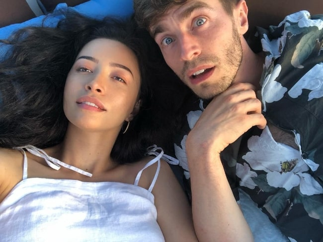 Christian Serratos as seen while taking a selfie with David Boyd in June 2018