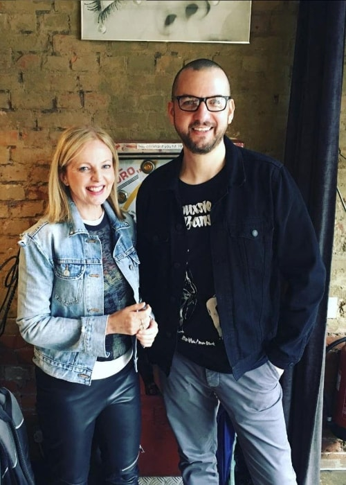 Clare Grogan as seen while posing for a picture with Phil Marriott in April 2019