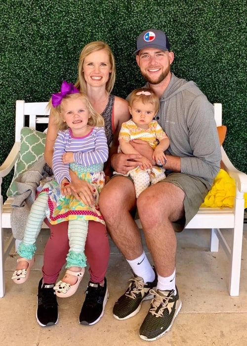 Cody Jones as seen in a picture with his wife Allison and his daughters Landry and Lucy in April 2019