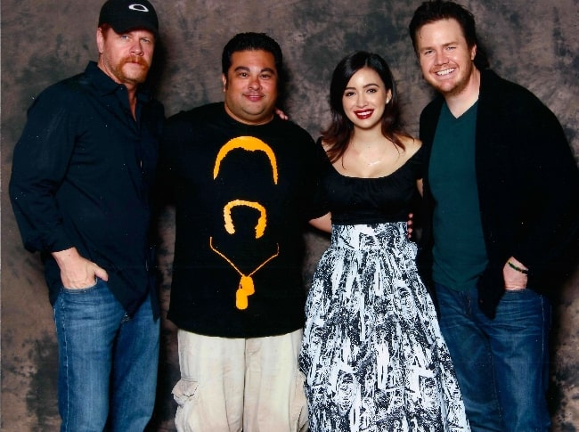 From Left to Right - Michael Cudlitz, Casey Florig, Christian Serratos, and Josh McDermitt as seen while posing for a picture at the Walker Stalker Convention in October 2014