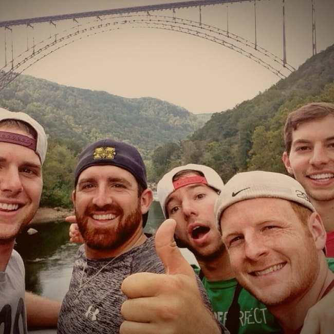Garrett Hilbert as seen in a selfie taken with the boys of Dude Perfect Cody Jones (On The Left), Tyler Toney (Centre), and Twins Coby and Cory Cotton (On The Right) in September 2013
