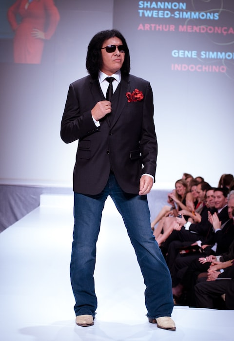 Gene Simmons wearing Indochino during Heart and Stroke Foundation - The Heart Truth celebrity fashion show in February 2012