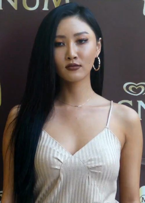 Hwasa at the MAGNUM Ice Cream Pleasure Store opening in June 2018