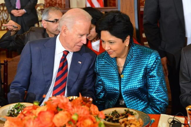 Indra Nooyi and Joe Biden as seen in September 2014