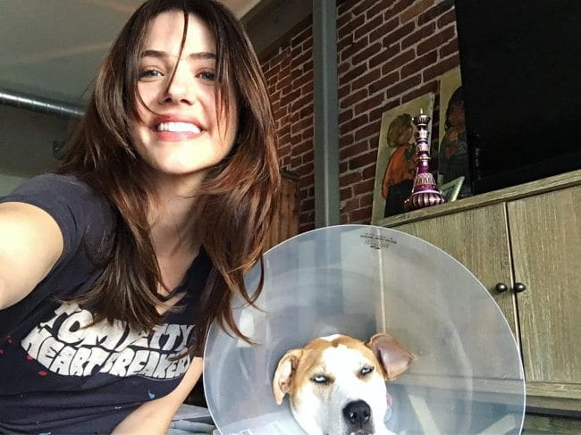 Julie Gonzalo in a selfie with her dog as seen in March 2019