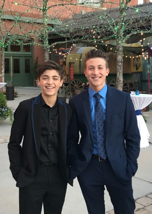 Luke Mullen (Right) as seen while posing for a picture with Asher Angel in Salt Lake City, Utah in February 2018