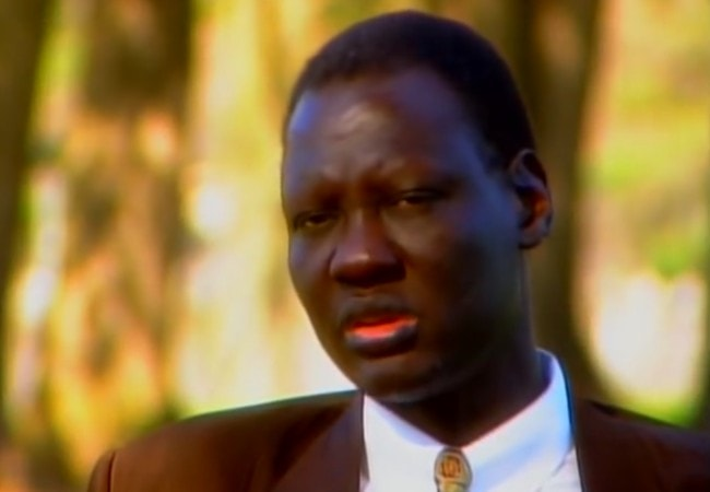 Manute Bol during an interview on The George Michael SportsMachine