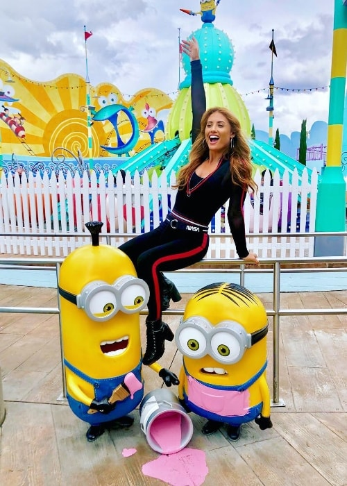 Montana Tucker as seen while posing for a picture with the minion figurines at Universal Studios Hollywood located in Universal City, California, United States in March 2019