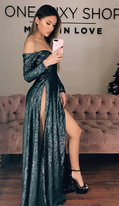 Natalie Danish as seen while taking a mirror selfie in a stunning dress in January 2019