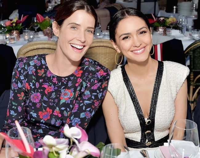 Nazanin Boniadi (Right) as seen while posing for a picture with her 'How I Met Your Mother' co-star, Cobie Smulders, at the Veronica Beard Pacific Palisades Opening in 2019