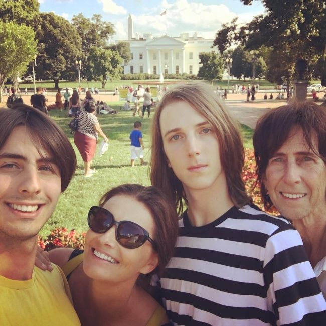 Paulina with ex-husband Ric Ocasek and their two sons Jonathan(l) and Orion(r) during a family vacation to Washington D.C. in August 2016