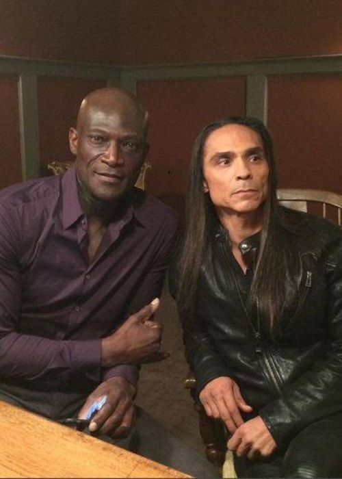 Peter Mensah (Left) as seen while posing for a picture with actor Zahn McClarnon in November 2016