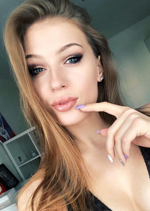 Polina Dubkova in an Instagram selfie as seen in October 2018