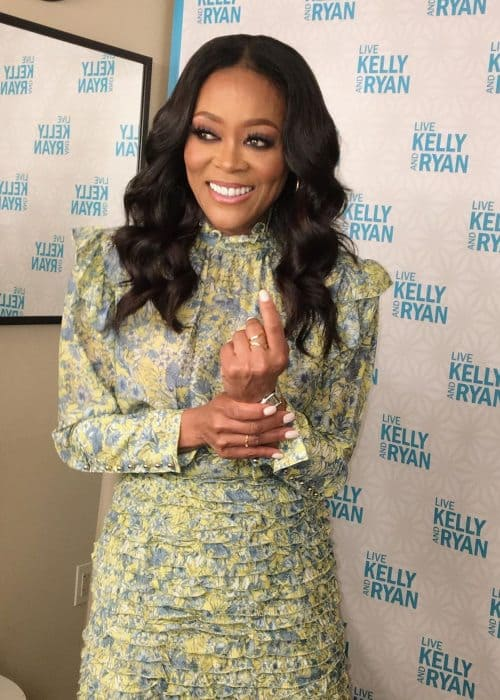 Robin Givens on the set of Live with Kelly and Ryan in June 2019