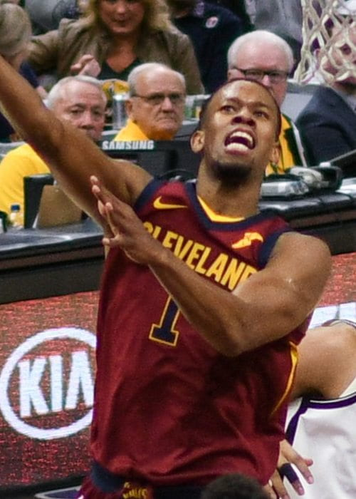 Rodney Hood during a match as seen in February 2018