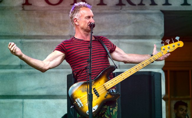 Sting during a performance on the steps of the National Portrait Gallery in Washington in June 2018