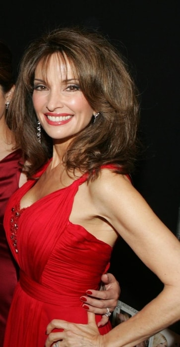 Susan Lucci as seen while posing for a picture in a stunning red dress at the 2009 Heart Truth fashion show in February 2009