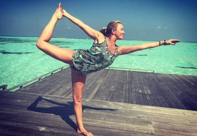 Tamzin Outhwaite as seen in a picture while doing a yoga pose in January 2019