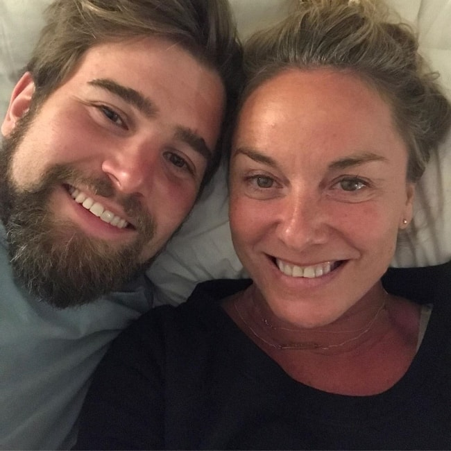 Tamzin Outhwaite as seen in a selfie with Tom Child in May 2019