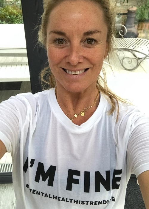 Tamzin Outhwaite as seen while taking a selfie after a session of hot yoga in January 2019