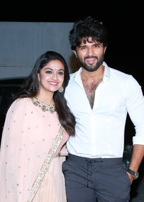 Vijay Devarakonda as seen in a picture taken with Keerthy Suresh in May 2018