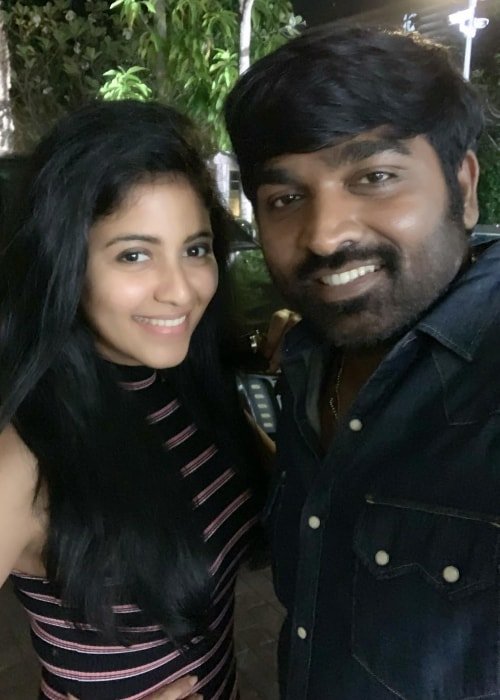 Anjali as seen in a selfie with actor Vijay Sethupathi taken in Januray 2019