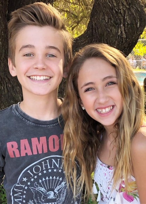 Ava Kolker as seen in a picture with actor Parker Bates at Camp Ronald McDonald for Good Times ranch in Burbank, California in December 2018