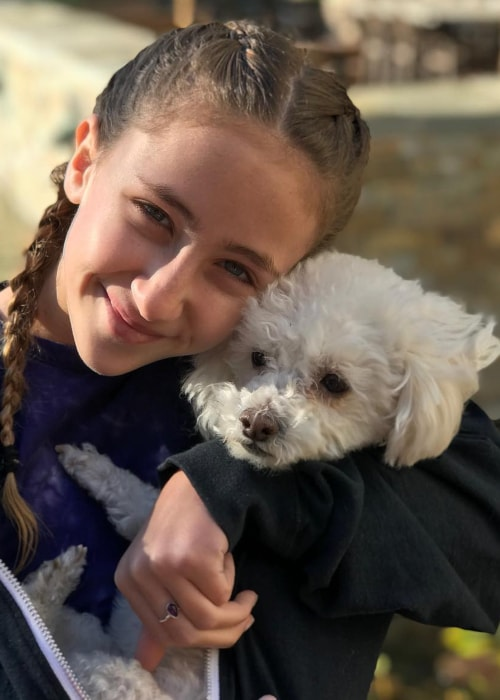 Ava Kolker as seen in a picture with her dog Mia in December 2018